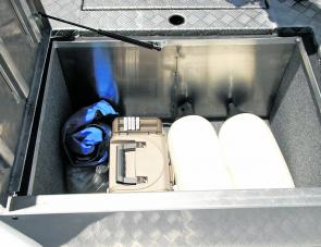 The Yellowfin's large forward storage compartment could serve many purposes, even storing an icebox for the catch.