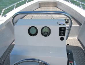 The twin Evinrude I-Command dials offered a wealth of information for the skipper.