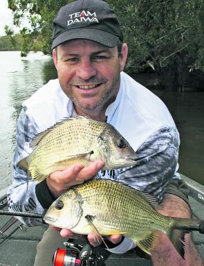 The author with some nice bream caught fishing a deep bank on the Maria River.