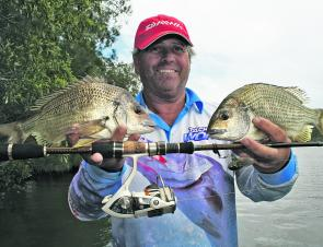 These bream would make anyone smile, especially as they were caught on a cicada surface lure.