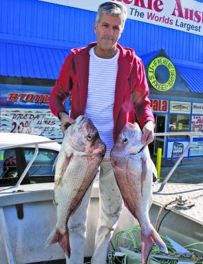 Will Malone with two great snapper taken on plastics off Macauleys headland.