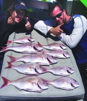 These snapper were caught wide of Wedding Cake Island, off Coogee.