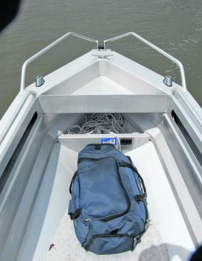 A decent anchor well plus side storage pockets are features of the Stabicraft's forward section.