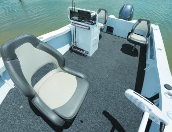 If you're a deeper water angler, you'll appreciate the lower cockpit floor behind the casting deck. There are no rod lockers in this hull layout – the vertical rod storage in front of the console does just fine.
