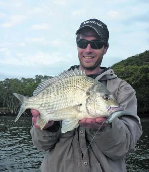 "Hugh from Bega nailed this 43cm bream on a 5"" stickbait on a recent charter."