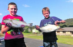 Brendan Reed and Jackson Inskip with a fine pair of Coorooman Creek grunter.