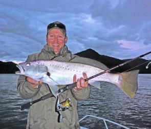 Dave Penny caught this great 75cm jew on a soft plastic fishing with Sydney Sportfishing Adventures at Brooklyn.