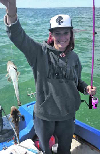 Ally shows off a double header of Corio Bay flatties.