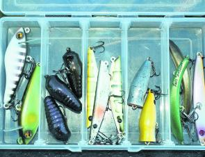 The Reds DFA range in a small tackle box. Unique lures with brilliant paint jobs.