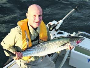 This mackerel smashed a live slimy trolled off a downrigger bomb. The fish often go deep once the sun comes up.