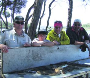 Mike Mordenti and his crew with some of their catch – pilchards was the best bait.