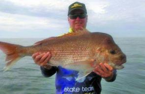 Paul Conn with his thumper snapper taken offshore from lakes Entrance
