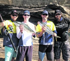 L-R: Troy Williams, Keanen Wood, John Fazekas and Mitch Wood. Mitch lost a monster king that nearly spooled him on 24kg before cutting him off!