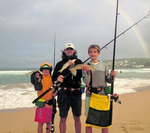 Patrick, Oliver Snr and Oliver Jnr Kovarik. Soon after this photo was taken there were a few more big whiting to 41cm caught by the trio.