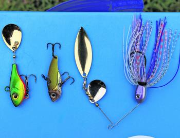Three favourite reaction baits - tail spinner, blade and spinnerbait.