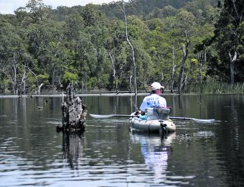 Glenn Godwin fishing the picturesque Danjera Dam just out of Nowra for bass.