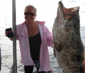 Kate with a huge cod - I'm not sure which one is bigger!