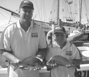 The father-and-son winning combination at the Port Macquarie Sundowner BREAM Classic, Karl and Tate Shaw.