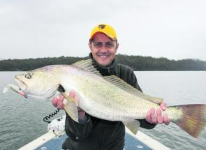 Scotty Finlay with a beaut 10kilo mulloway just prior to release.