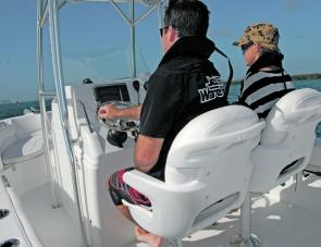 Strong and comfortable seating is important on long runs offshore.