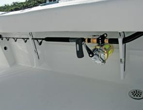 Rod racks large enough for game rods are featured within the Sea Fox.