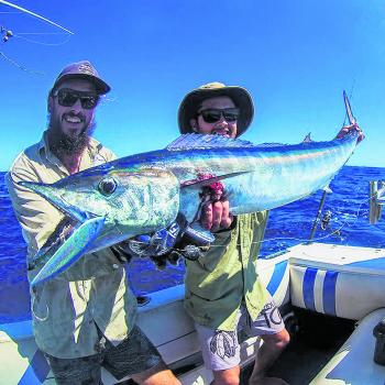 Bill Livingston and Chad Hastings with a wahoo that munched its last on a BFP Swimbait.