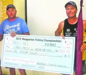 The 2012 Shepparton Fishing Championship winners Craig Oxley and Jason Gretton.