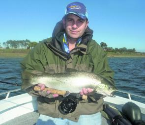 The author landed this great 2kg brown trout while flyfishing Lake Tooliorook.