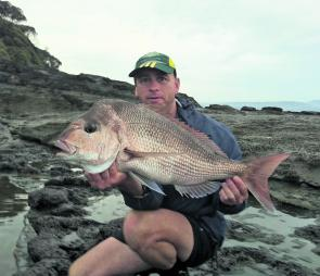 Snapper are still firing off the rocks. Dean Heycox displays another solid specimen.