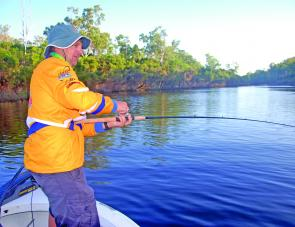 Stephen Booth putting the hurt on a Boyne River barra, or is it the other way around. Even this 6-8kg Quantum Accurist rod and Quantum Energy PTs reel were tested on these fit escapee barra.