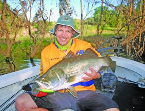 The Bushy Stiffy Minnow is as good a lure as any we found to target the Boyne River's barra.