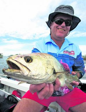 This month there should be lots of mulloway around, like this one caught by Bob James.