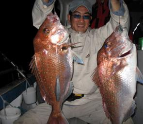 Two hooks, two great snapper. There should be more reds moving into the shallows this month.