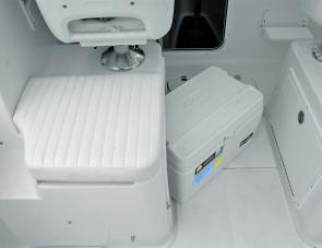 A handy icebox is stowed under the passenger's seat.