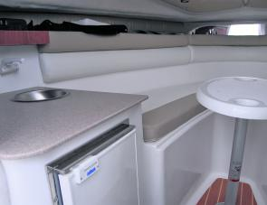 A comfortable galley makes dining aboard the Voyager an additional pleasure of ownership.