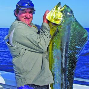The warm water is back and so are the mahi mahi. Russell Emms with a fine specimen.