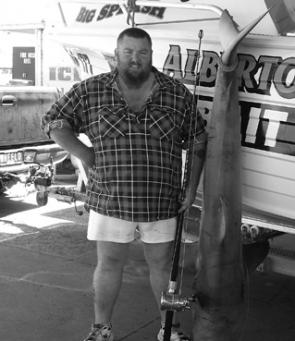 The author with a 47kg gutted bronze whaler.