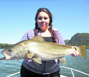 Rebecca with a handsome 82cm school mulloway that took a liking to a live bait fished on the tide change.