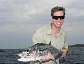 Patrick Sloan with an average mackerel from Black Head Reef.