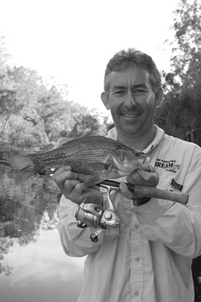 Paul Burke with a lovely bass caught on a Koolabung Cicada fizzer.