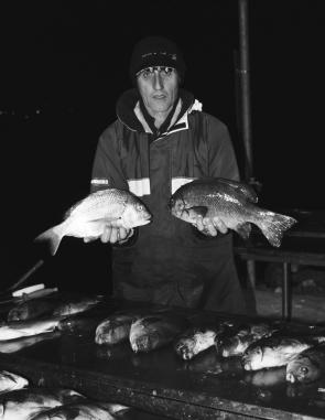 Dave Trinder with some of a late-night assault on the pigs from the stones. Picking your sea conditions is the most important issue because you don't want to risk your safety. Believe it or not, Dave caught his first-ever pig on a 3