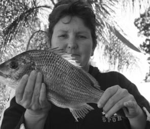 Maree Borg with one the last of the spawning-run bream in the Clarence River.