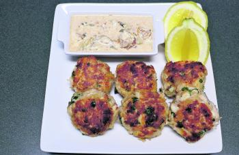 The crab cakes served with the beery remoulade.