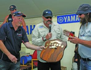 Merv Hughes was on hand to present the shield to the Champion Angler, Greg Panter (photo: Neil Slater).