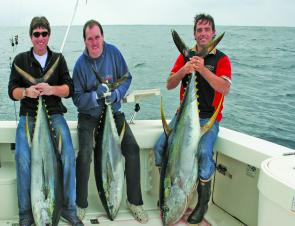 Charlie, Peter and Benny with quality yellowfin tuna caught prior to yet another blow. Not a bad way to christen a new boat!