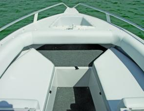 Three passengers can enjoy the wind in the hair up front of the Blue Fin.
