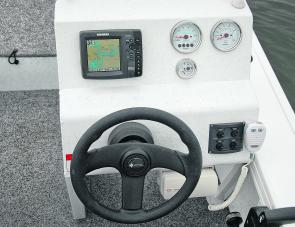 Side consoles make sense in a fishing craft: the Stryker's console taking up very little room.