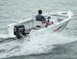The Stryker running at speed: family boaters will really enjoy this craft's smooth ride.