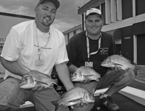 Aaron Sharp and Robert March got the biggest bag on Day 1, after fishing Green Island and St Helena jetty with a range of soft plastics and hard bodies.