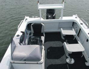 A look inside the 510 Dominator: note the movable seating, side pockets and aft drink holders.